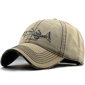 2017 Summer Unisex Fish Bone Emboridery Baseball Cap Curved Camouflage Brim Dad Caps Hip Hop Hat Snapback Hats For Men And Women