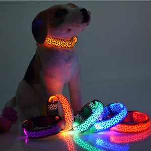 Leopard Pet Dog LED Collar Cat Collars Flashing Nylon Neck Light Up Training Collar for dogs Pet Supplies plus size Dog Collars PD008