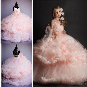 2017 Rosa Tule Princesa De Luxo Da Dama De Honra Vestidos Da Menina de Flor Festa De Casamento Prom Vestido Meninas Pageant Vestido de Aniversário Custom Made
