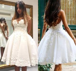 Strand Hochzeit Dresse knielangen Schatz Appliques Spitze eine Linie Strand Brautkleider Low Back Plus Size Hochzeitskleid