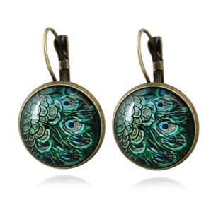 Vintage Cabochon Earrings Peacock Handmade National Style French Hook Earrings para niñas / mujeres