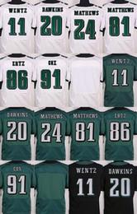 2017 Elite Futebol Todos costurado em branco / # 7 Bradford / # 11 Carson Wentz / # 20 Dawkins / # 43 Sproles Branco Verde Black Jerseys Ordem Mix
