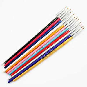 Gros- 12 pièces peinture colorée Dessin Pen Nail AAcrylic Nail Art Conseils Liner Brosses à ongles Pen poignée en bois