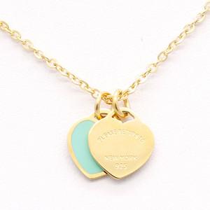Kadınlar Paslanmaz Çelik Aksesuarlar Zirkon yeşil pembe Kalp Kolye için Kadınlar Takı hediye Sıcak Tasarım Yeni Marka Kalp Love kolye