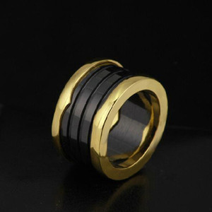 Hot New Arrival special black and white color Sets Classic Rings For Rings ceramics Ring 18k Rose gold ring Titanium / Wide Version