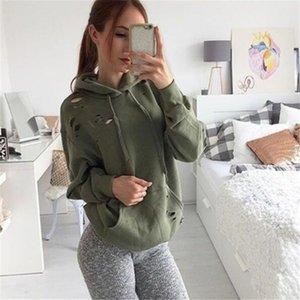 Женская модная одежда Сексуальные рваные рубашки Пуловеры с дырочками Army Green с длинными рукавами Torn Hoodies