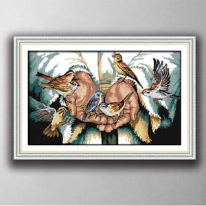 Mit Liebe in den Händen, Gracious Art Cross Stitch Hand Sets Stickerei Kits Gemälde gedruckt auf Leinwand DMC 14CT / 11CT gedruckt