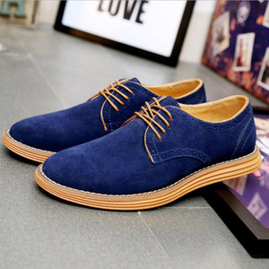 최고 품질 스웨이드 가죽 남성 플랫 신발 brogues 레이스 업 수소 비즈니스 남성 Oxfords 신발 남성 캐주얼 신발 Mens Driving Shoe