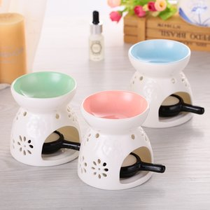 Wholesale- Fragrance Lamp Holder Furnace Incense Censer Lights Classic Pink Glaze Ceramic  Oil Burner Candle Home Decor