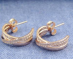 De alta qualidade New Rose banhado a ouro entrelaçados brincos de argolaBrincos de jóias estilo europeu Pandora com CZ