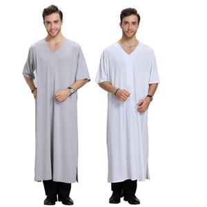 New arrival Abaya turkish half sleeve V neck Muslim Dress Islamic clothes for men dubai robes split musulmane dresses mens Kaftan vestidos