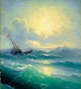 Enmarcado Ivan Constantinovich Aivazovsky -Sea (etude) - paisaje marino con nave en el mar, Puro paisaje pintado a mano Pintura al óleo del arte Multi tamaños S011