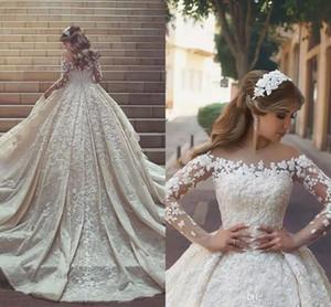 2020 vestidos de boda del tren de largo Nuevo magnífico árabe de encaje de manga larga de los cristales de volantes apliques de tul vestidos de boda por encargo