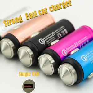 Martillo de seguridad LED 2A USB Fast Car Charger Aleación de aluminio para Samsung S7 S8 Plus xiaomi Huawei