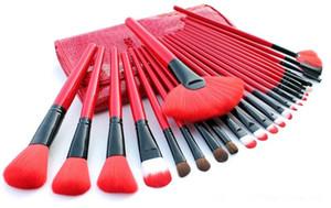 24pcs 메이크업 브러쉬 세트 레드 블랙 컬러 코스메틱 브러쉬 블러쉬 페이스 파우더 아이 섀도우 파운데이션 브러쉬 wa3775 DHL 무료 배송