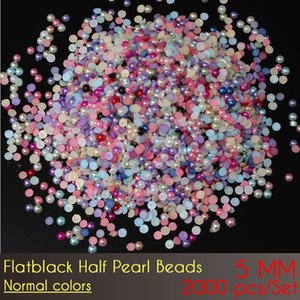ABS Flat Back Half Pearl Beads 5mm Normal Color 2000pcs Set flat back round craft half pearls diy glue on beads for decoration