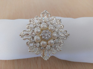 Square Shape 5cm*5cm Pearl Rhinestone Buckle 100PCS Free Shipping For Napkin Ring Use
