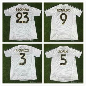 ^ _ ^ En gros 2003 2004 maillots de football rétro madrid Top thaïlandais de qualité nom personnalisé numéro Zidane uniformes de football chemises de football vêtements