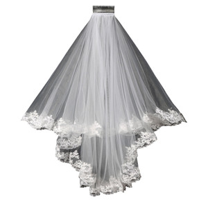 2019 New Lace wedding veil lace short design single wedding bride's Veil long hair comb Free shipping in stock