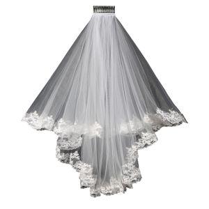 2019 New Lace Wedding Veil Lace Design Curto Single Wedding Noiva Véu de Cabelo Longa Pente Frete Grátis Em Estoque