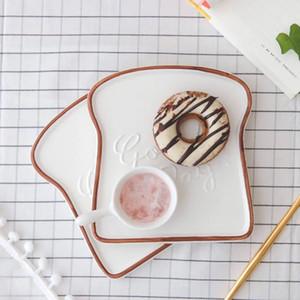 Buen día para ti mismo Platos de comida con forma de tostada para la cena bandeja Platos de cerámica creativa vajilla utensilios de cocina bandeja de comida
