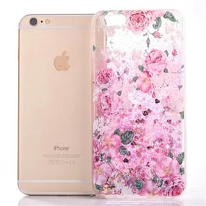 Per iPhone 7 Plus Quicksand liquidi scintillio della stella di amore cuori Bling di lustro Carino scorre fluttuante Moving Sand Custodia per iPhone 6 6S 7 Plus