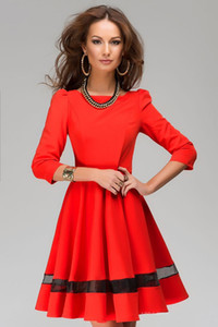 Solid - pleated skirt pendulum fashion dress