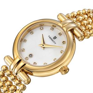 Yepyeni inci kayışı elmas kabuk yüz TWINCITY kadın kuvars saatler kronograf kol saati otomatik tarih spor eğlence saatler