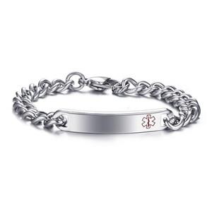 Gravure gratuite Alerte médicale Homme ID Bracelet Tag en acier inoxydable 316L lien chaîne poignet charme Bangles 8 pouces