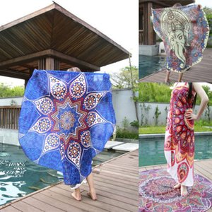 Wholesale- Round  Tapestry Vintage Floral Printed Wall Hanging Boho Beach Throw Towel Yoga Mat Blanket Tablecloth Home Decor 145cm