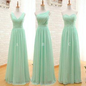 Menta verde barato largo de la gasa vestido de dama de 2020 una línea plisados de playa vestidos de damas de honor criada del huésped de la boda Vestidos