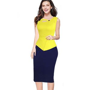 Mujeres chaqueta de verano falso de una pieza sin mangas ojo de la cerradura Peplum oficina de negocios vaina ocasional lápiz de trabajo vestido