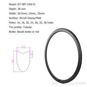 700C 도로 자전거 탄소 섬유 바퀴 림 공장 제안 18 20 24 28 32 36 구멍 OEM 관형 타이어 단면도 38mm 깊이 23mm 폭