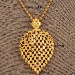 Дубай Ожерелье Женщины Эфиопский Шлейф Кулон Ожерелье 14k Желтый Сплошной Тонкая Золотая GF Ювелирные Изделия Африка / Арабские Цветочные подарки