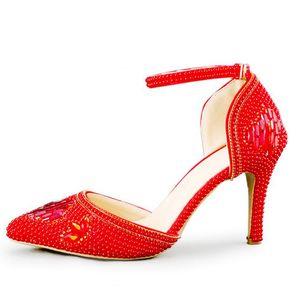 Rosa Vermelho Branco Pérola Sapatos De Casamento Dedo Apontado Confortável Médio Sapatos de Festa de Salto Médio Handmade Rhinestone Nupcial Vestido Sapatos