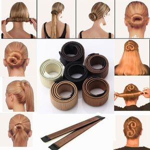 Magia cabelo Ferramentas Bun Criador Cabelo laços menina DIY Styling Donut ex-Espuma Cabelo Arcos franceses Torça mágicos Ferramentas Bun