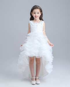 White Princess Lace Children Flower Girl Dresses For Weddings High Low Beaded Kid Girls Party Pageant Dress With Long Train For Little Girls
