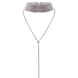 idealway العلامة التجارية الساحرة الذهب بالفضة البطانة شقة سلسلة حجر الراين واضح كاملة واسعة الياقة المختنق قلادة