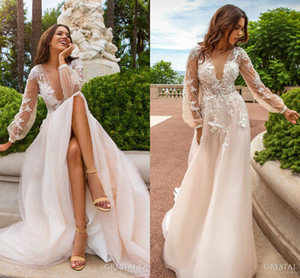 Novo Design de Rendas Apliques de Vestidos De Casamento 2017 Profundo Decote Em V Ver Através de Volta Com Botão Flores Artesanais Sweep Trem Vestidos de Noiva de Casamento