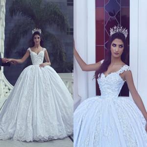 Saudita árabe Dubai Lace vestido de baile vestidos de casamento 2017 Sexy Backless mangas fora dos ombros 3d flora longo formal vestidos de noiva custom made