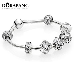DORAPANG 2017 NEWEST 100% 925 Sterling Silver Hand catenary suit Clear CZ Charm Bead ESSENCE Bracelets DIY For Women Jewelry