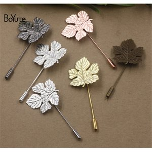 BoYuTe 20Pcs 5 Colors Plated Vintage Style 29*32MM Maple Leaf Base Brooch Pins Diy Jewelry Accessary