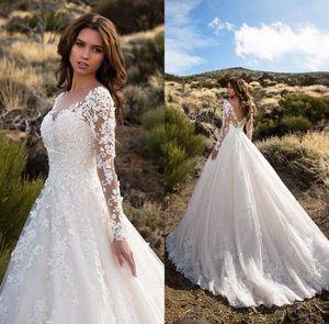 Marfim Tulle Princesa Vestidos De Noiva 2018 Strass Appliques V-Decote V Pessoas Das Mangas compridas Noiva Vestidos para Dubai Arábia Saudita Vestido de Novia