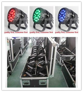 Road Case Package 4piece RGBWA UV Zoom Led 18 * 18w Led Par Light with Water Waterproof DJ الإضاءة مأدبة معدات ضوء المرحلة