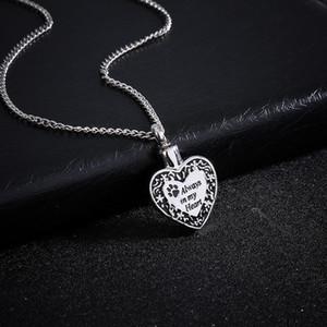 Patte d'animal familier charme de coeur crémation bijoux souvenir urne collier chiot cendres toujours dans mes coeurs crémation colliers