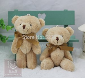 Wholesale- T108 Free shipping 24pcs lot Promotion 12CM bow tie brown teddy bear mini joint plush keychain bear bouquet toy phone pendant