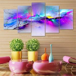 Pagina dei 5 pannelli / set colori viola, genuino Dipinti a mano astratta moderna decorazione domestica parete olio di arte pittura dimensioni Canvas.Multi di trasporto 023