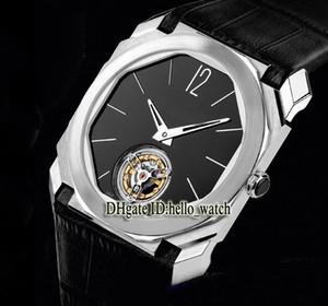 Alta Qualidade Novo Octo Finissimo 102138 BGo40BPltbxt Tourbillon Black Dial Automatic Mens Watch Case de Prata Caixa Strap Gents Watch