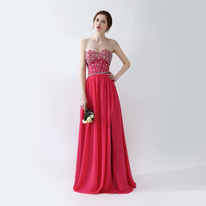 Free Shipping 2018 Evening Gowns New Arrivals vestidos de noiva Crystal beading Side Split Prom Dresses