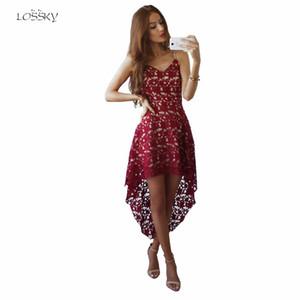 LOSSKY новый бренд кружева жгут Dress 2017 лето Dress мода повседневная Sexy ласточкин хвост V-образным вырезом тонкий Dress Vestido Robe Kleid S-XL q0506